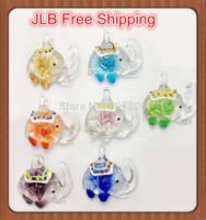 JLB Wholesale 12pcs Baroque colorful Fashion Elephant Lampwork 3D Flower glass murano pendants necklace jewelry FREE SHIPPING