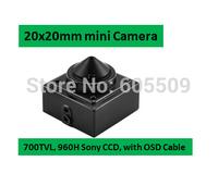 Free Shipping 2014 NEW Updated 700TVL Single Board 20x20mm OSD Cable controller  Mini CCTV Camera