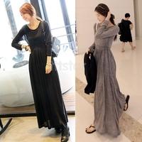 Korea Women OL Round Neck Long Sleeve Slim Maxi Long Dress Spring Fall Khaki Black DF10152
