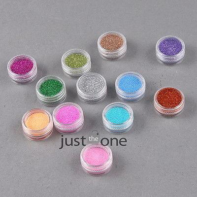 Hot 12 Colors in 1 SET Shiny Glitter Nail Powder Art Tips Makeup Dust Decoration(China (Mainland))