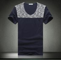 2014 summer men's casual short-sleeved T-shirt Knitting stitching design Men Sexy Peach no thanks slim T-shirt
