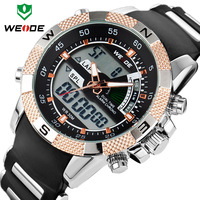WEIDE Brand Name Men watch Waterproof 30M Silicone Straps Watches Led Alarm Digital Analog Display Wristwatch Dropship