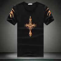 2014 desigual Men's casual short-sleeved Cotton T-shirt Retro Crosses Printing Men O-Neck t shirt high quality