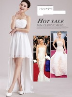 2014 New Arrival Fashion Tube Top Sexy Dresses Married StraplessThe Bride Clothing Full Dress White Red Evening Dress Bridesmaid