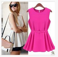 EAST KNITTING CC054 2014 New Woman Dresses Hot fashion summer Mini Sleeveless Office Lady dress Plus Size   Free Shipping