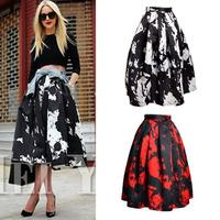 HOT 2014 New Summer Women's Vintage Hepburn Style Contrast color Print Pleated Midi Skirt High Waist Swing Skirt Ball Gown Skirt