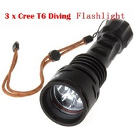 Free ship 1Set TrustFire DF003 Diving Flashlight 3 x CREE XML T6 LED Scuba Diving Waterproof Torch Swimming underwater Deep 200m