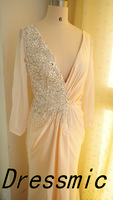 Hot Sale Sexy V-Neck Long Sleeve Bead Pearl Chiffon Design Evening Dresses Party Dress Custom Made QB-97