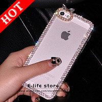 Luxury 3D Sweet Bowknot Crystal Bling Rhinestone Clear Handmade Diamond Case Hard Cover For iPhone 5 5s Free Screen Protector