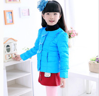 2014 new children's clothing sweet lace threaded collar down jacket children jacket