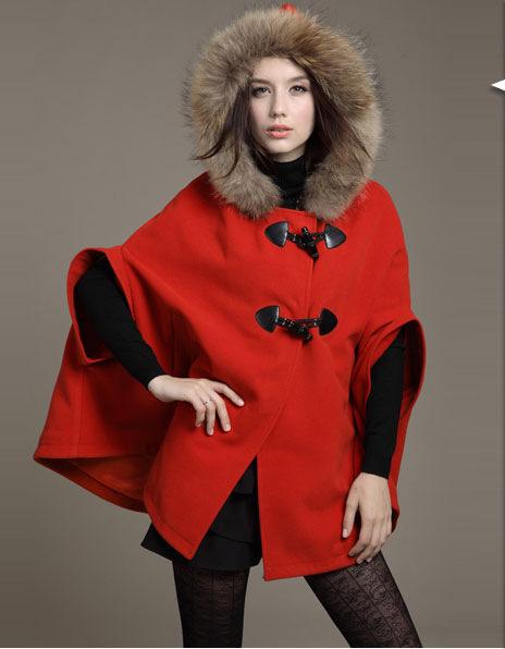L0360 New Fashion Women Wool Cape coat Fur collar Outerwear Winter solid horn button overcoat Women Blends woolen cape Plus Size(China (Mainland))