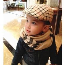 2014 New Spring Autumn Fashion Children Kids Boys Snapback Peaked Beret Cap Hat lattice CA073(China (Mainland))