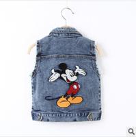 2014 autumn mickey mouse denim vest boys's clothing spring waistcoat fashion outwear cartoon coat kids