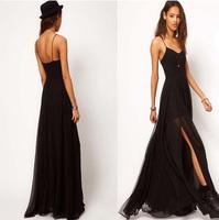 Fashion double layer 9939 placketing spaghetti strap full dress bohemia full dress