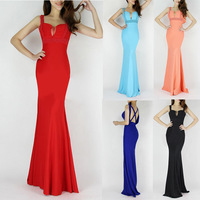 Black/Dark Blue/Sky Blue/Red/Dark Salmon/Purple Beaded Women Long Sexy Evening Gown CL6097