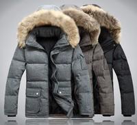 2014 Autumn and winter men's brand white duck down jacket ,men's fashion wool outdoor jacket ,winter plus size outwear coat