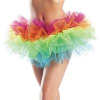 Adult Rainbow Organza Tutu petticoat Club Skirt