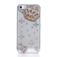 2014 Faux Pearl Blue Rhinestone Bow Crown Protector Case Cross Transparent Protector for iPhone 5/5s 2X MS272-9#S3