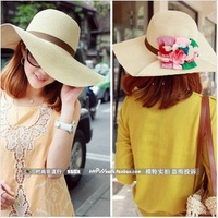 Hot New 2014 Fashion Summer 6 Color Flower Straw Hat Beach Cap Sun Hats for Women Sexy Ladies Large Brim Novelty Travel Hat
