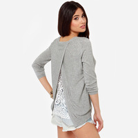 cross stitch back exposed stitching lace lined gray round neck long-sleeved sweater for wholesale and free shipping haoduoyi