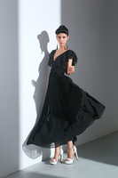60229 real pictures with model elegant gentlewomen deep V-neck temptation one-piece dress