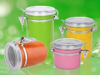 Stainless steel Canister With Plastic Lid WITH Color Rubber Spray(All with chrome locking)