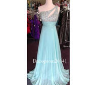 2014 Sexy Backless Blue Chiffon One Shoulder With Crystal Beads A-line Formal Evening Dresses Party Gown Custom Color