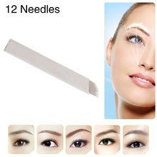 100pcs/lot JM611D-X1 Fashion Permanent Makeup Manual Eyebrow Tattoo Pen Blades 12 Needles for Eyebrow Tattoo Free Shipping(China (Mainland))