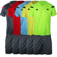 Comfortable professional soccer referee clothing turn-down collar black yellow green blue