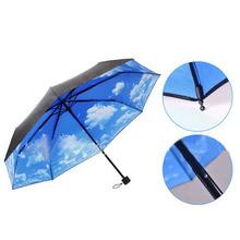 Brand New The Super Anti-uv Sun Protection Umbrella Blue Sky 3 Folding Gift Parasols Rain Umbrellas For Women Men 1pack(China (Mainland))