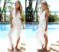 Sexy V Neck Backness White Chiffon Jumpsuits Evening Party Dress