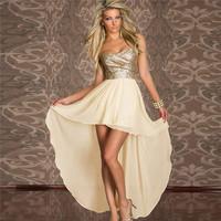 Plus Size M L Sexy Front Short Long Back Gowns Party Prom Chiffon Asymmetric Club White Black Dress LF558