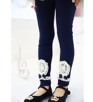 new 2014 autumn winter children girl fashion navy blue beige pink laceflower cotton leggings kids wholesale cut legging clothing