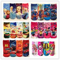Retail 2pairs/lot 2014 New Summer baby cartoon Frozen socks kids cotton superman sock Children's Minnie socks lovely boys girls