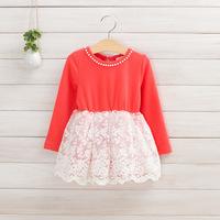2014 New,girls embroidered dress,children autumn princess dress,long sleeve,beads,cotton,4 colors,5 pcs / lot,wholesale,1502