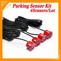 4 Pieces RED Sensors Parking Sensor 22mm Monitor System Reversing Radar Car Reverse Probe Free Shipping