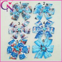 "Free Shipping 30 Pcs/lot 3"" Baby Frozen Bows With Clip,Cute Pinwheel Frozen Bow,Handmade Ribbon Frozen Hair Bow"