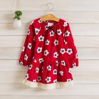2014 New,girls floral dress,children autumn princess dress,long sleeve,lace hem,bow,cotton,3 colors,5 pcs / lot,wholesale,1503
