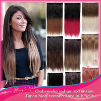 1PCS RREE SHIPPING Two Tones Hair  Ombre Synthetic Hair Extension  Gradient one pieces Clip in Hair Extension 60cm 24inch