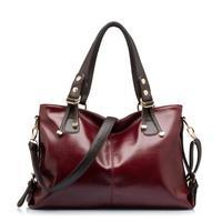 Fashion women's shoulder handbag oil wax leather larger messenger bag retro luxury totes colors 140710A