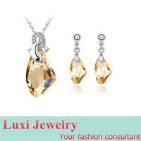 Luxury Crystal Jewelry Set Necklace Pendant Drop Earrings Set Fashion European Statement Jewelry 2014