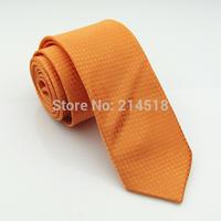 orange color Brand New wedding groom Solid Mens skinny Silk SK18 Tie Navy slim Necktie