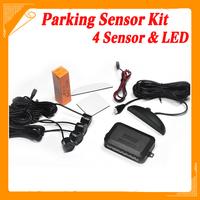 Car LED Parking Sensor Kit 4 Sensors No Drill Hole Saw 22mm Display Reverse Backup Radar Monitor System 7 Colors Free Shipping