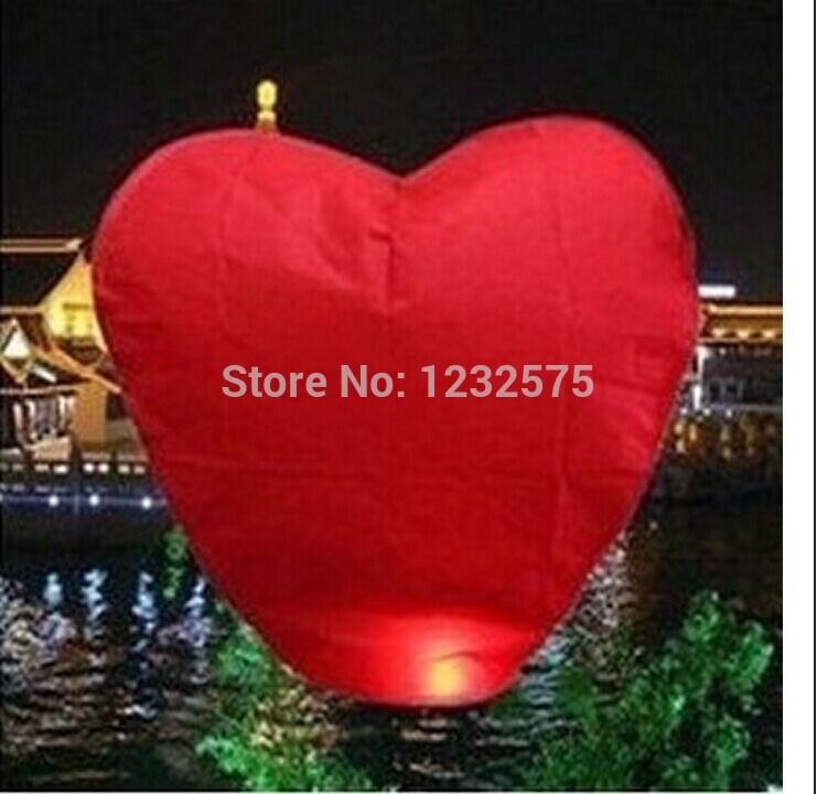 Free shipping 50pcs/lot Red Heart Sky Lanterns Wishing Lamp SKY CHINESE LANTERNS BIRTHDAY WEDDING PARTY SKY LAMP(China (Mainland))