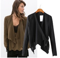 Women Linen Suit Tie Irregular Hem Cardigan Suit Casual Coat Deep Khaki/Black 684