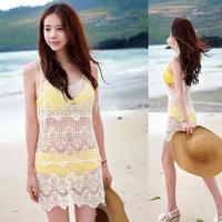 1pcs 2014 New Fashion Women Lace Crochet Sleeveless Swimwear Bikini Cover Up Beach Dress Beige Free Shipping