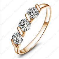 18K Rose Gold Plated 0.25ct * 3 Pieces Zirconia Diamond Ladies Jewellery Rings R083R1