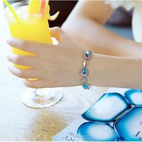 Romantics Heart-Shaped  Style Blue Crystal Chain Bracelet   Jewelry 18K Plated Ladies' Bracelet Chain