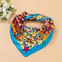 Free Shipping Silk Scarf Wraps,2014 Europe Style Design Satin Big Square Scarves Printed,New Brand Women Blue Silk Scarf 90*90cm