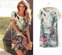 New Europe Vintage Women Summer Dress 2014 Toucan Bird With Landscape Flower Print Chiffon Gowns Elegant Vestidos Casual Dress